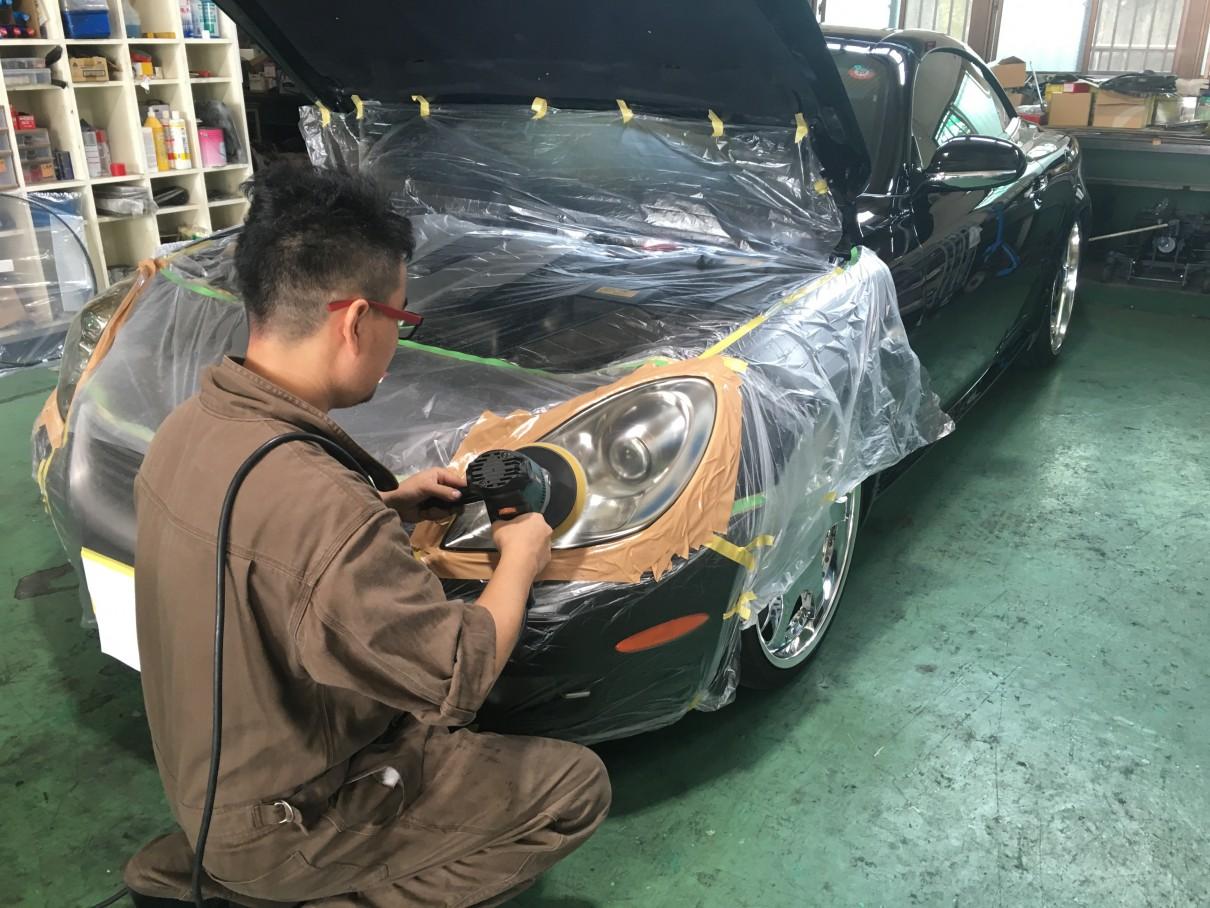 へッドライト クリア層の塗装 仕上げの研磨