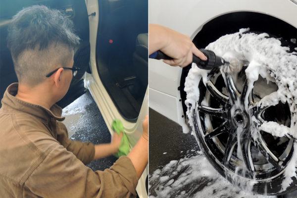 手洗い洗車_インステップとホイール洗浄